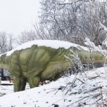 Apatosaurus with snow